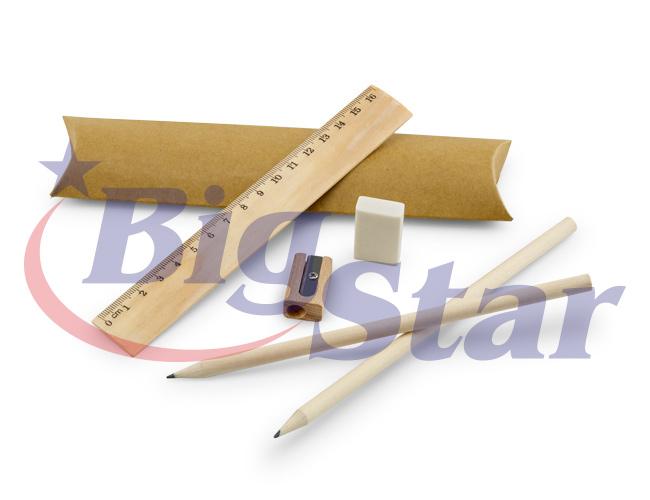 Kit com régua, lápis, borracha e apontador BIG 2647