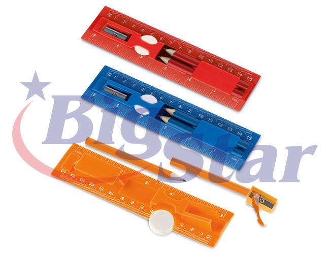 Kit com régua, lápis, borracha e apontador BIG 2648